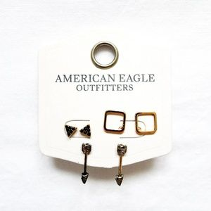 NEW AMERICAN EAGLE 3 Pairs LOT Triangle Rose Gold Silver Arrows Studs